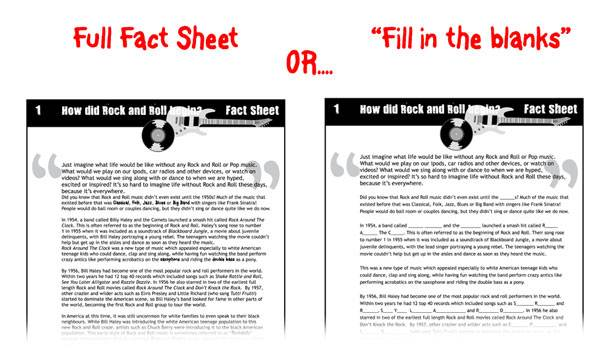 Fill in the blanks and normal factsheets included