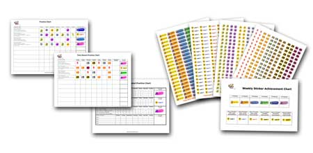 Bonus Practice System charts and stickers